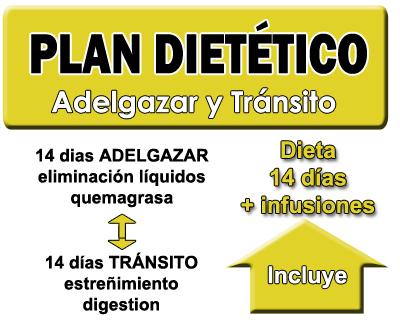 Plan 14 dias adelgazar y tránsito (incluye dieta)