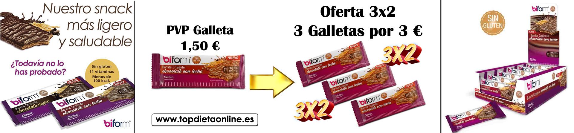 3x2 galletas crujientes chocolate con leche de Biform