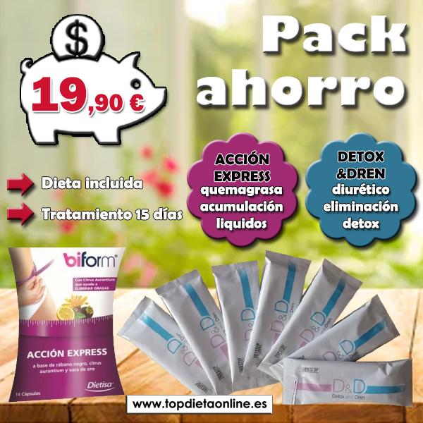 Pack ahorro acción express + detox&dren PRIMAVERA topdietaonline